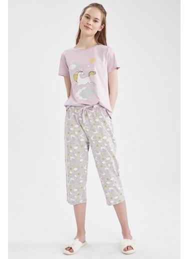 DeFacto Relax Fit Unicorn Baskılı Kısa Kol Pijama Takımı Gri